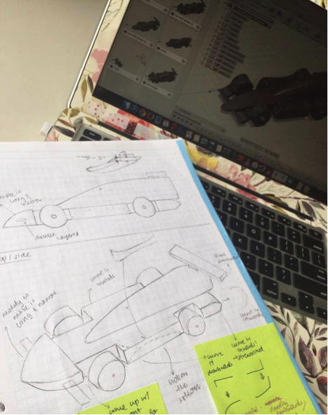 First draft of car design (on paper)