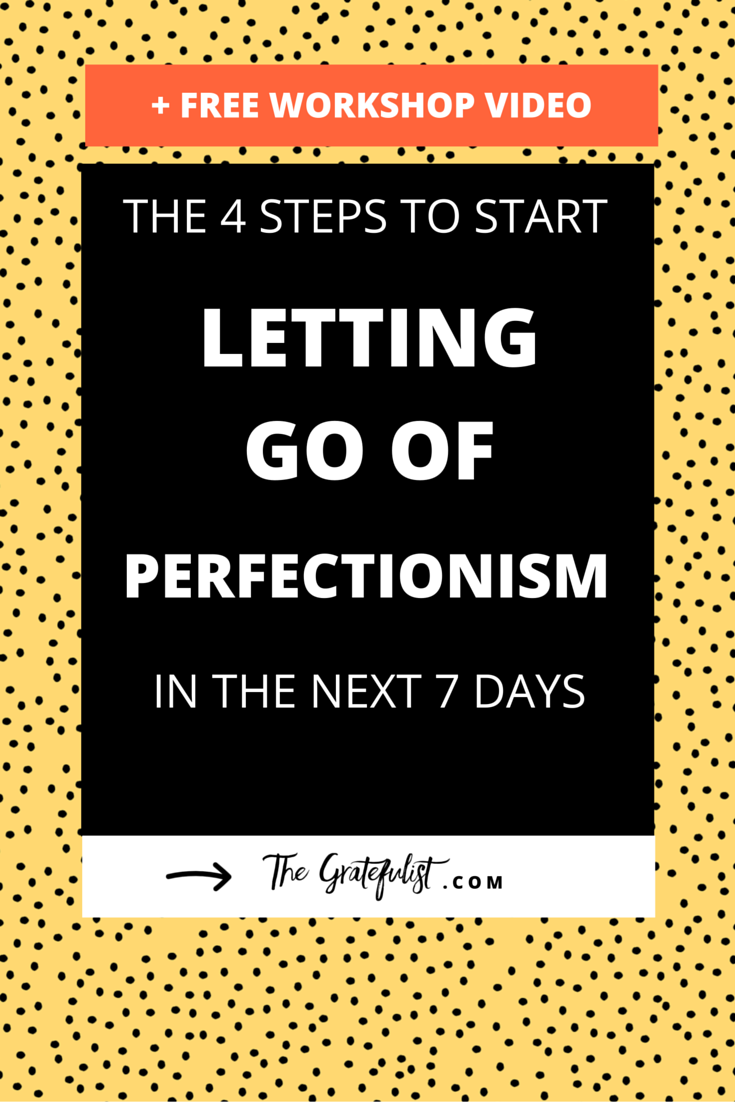 The 4 steps to start letting go of perfectionism in the next 7 days - Valuable, actionable, and practical tips about letting go of perfectionism for soul-connected yet stressed-out creatives, bloggers, photographers, coaches, designers, handmade business owners, and creative entrepreneurs? Woohoo! Click through to download the FREE perfectionism-busting workbook and watch the workshop video.