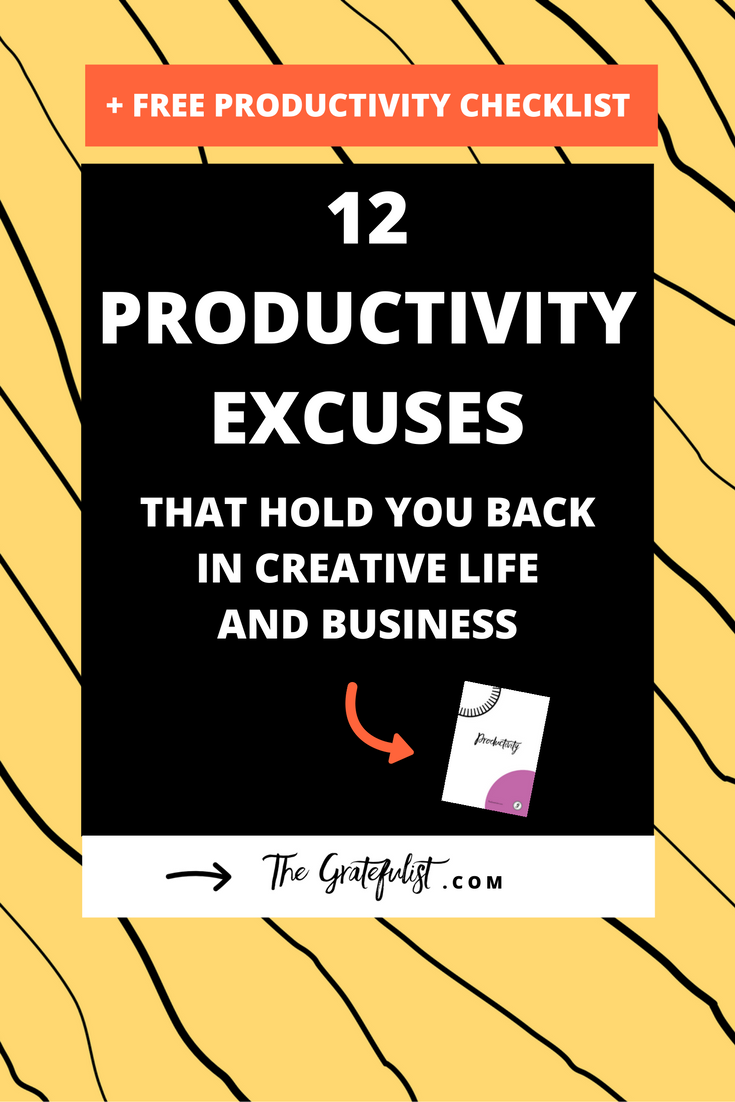 Productivity isn't the dirty word we've come to believe it is. Productivity isn't cramming every minute of your day full with activities and things to do, so that you can call yourself 'productive'. Productivity without purpose is just busyness. But before you even can get started with figuring out what it means to be purposefully productive, increasing your productivity and implementing systems, you need to debunk a few productivity myths and get real clear on the excuses you've been telling yourself that have stopped you from being purposefully productive. Click through to learn all about the 12 productivity excuses. PLUS: do you want to be more productive in your work and life? In need of a tailored-to-your-needs daily routine? Do you fall victim to procrastination and not achieving the goals (#allthethings) you set for yourself? Then make sure to download the Ultimate Checklist for Productivity with Purpose.