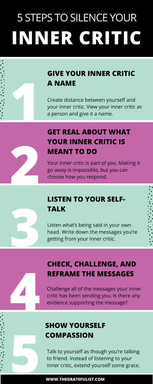 5 steps to silence your inner critic -It's the 11th episode of the #perfectionistproblems series for soul-connected yet stressed-out creatives and recovering perfectionists and one of the biggest problems that we as perfectionists face is our inner critic. Click through to learn all about how to silence your inner critic. Plus there's a FREE workbook!