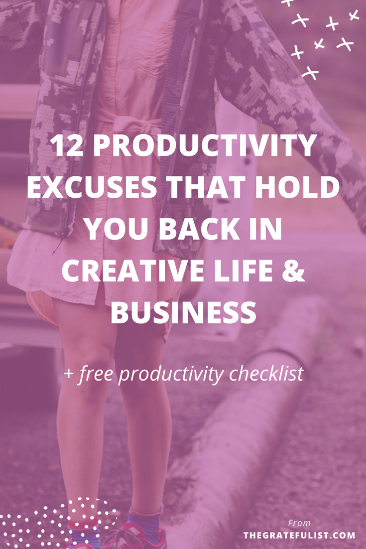 Productivity isn't the dirty word we've come to believe it is. Productivity isn't cramming every minute of your day full with activities and things to do, so that you can call yourself 'productive'. Productivity without purpose is just busyness. But before you even can get started with figuring out what it means to be purposefully productive, increasing your productivity and implementing systems, you need to debunk a few productivity myths and get real clear on the excuses you've been telling yourself that have stopped you from being purposefully productive. Click through to learn all about the 12 productivity excuses.  PLUS: d  o you want to be more productive in your work and life? In need of a tailored-to-your-needs daily routine? Do you fall victim to procrastination and not achieving the goals (#allthethings) you set for yourself? Then make sure to download the Ultimate Checklist for Productivity with Purpose.