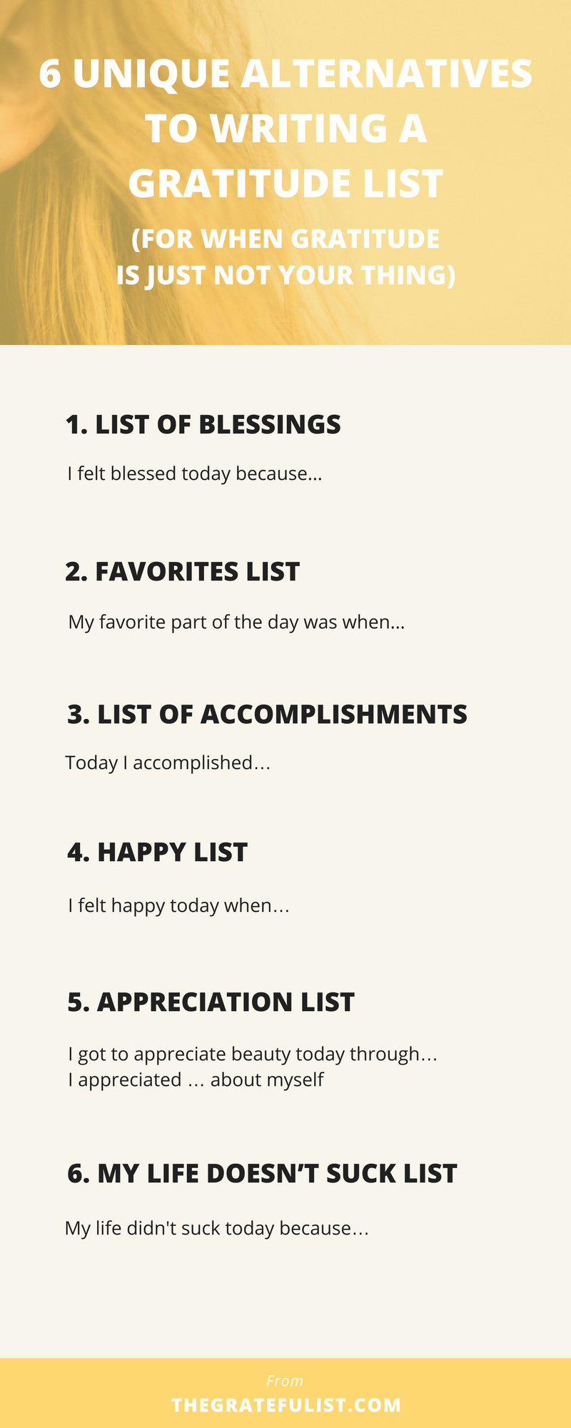 Does the word 'gratitude'resonate with you? Maybe 'gratitude' just doesn't gel. Perhaps you're someone who's into journaling, but gratitude journaling is just not your thing. That's okay!Why don't you reframe that gratitude list-making into something that DOES gel with you?I've come up with 6 other ways you can practice gratitude through journaling and writing a daily list, without it being that dreaded gratitude list.Click through to read more, plus there's a free email course waiting for you!