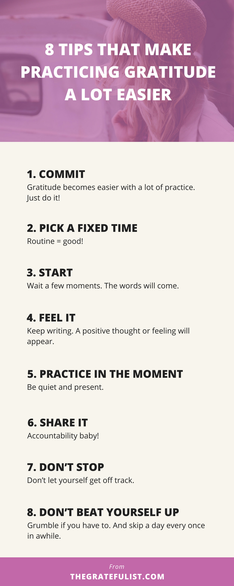Useful and practical advice for soul-connected yet stressed-out creatives (that's you creative entrepreneurs, bloggers, photographers, designers, and handmade business owners!)who want to build up their gratitude mojo. Click through to read all about the 8 strategies you can use when starting a gratitude practice.In case you're ever in a gratitude slump, I created a free printable checklist.Grab it and use it as a prompt or reminder whenever you feel your motivation waning or can't think of a thing to feel grateful for.