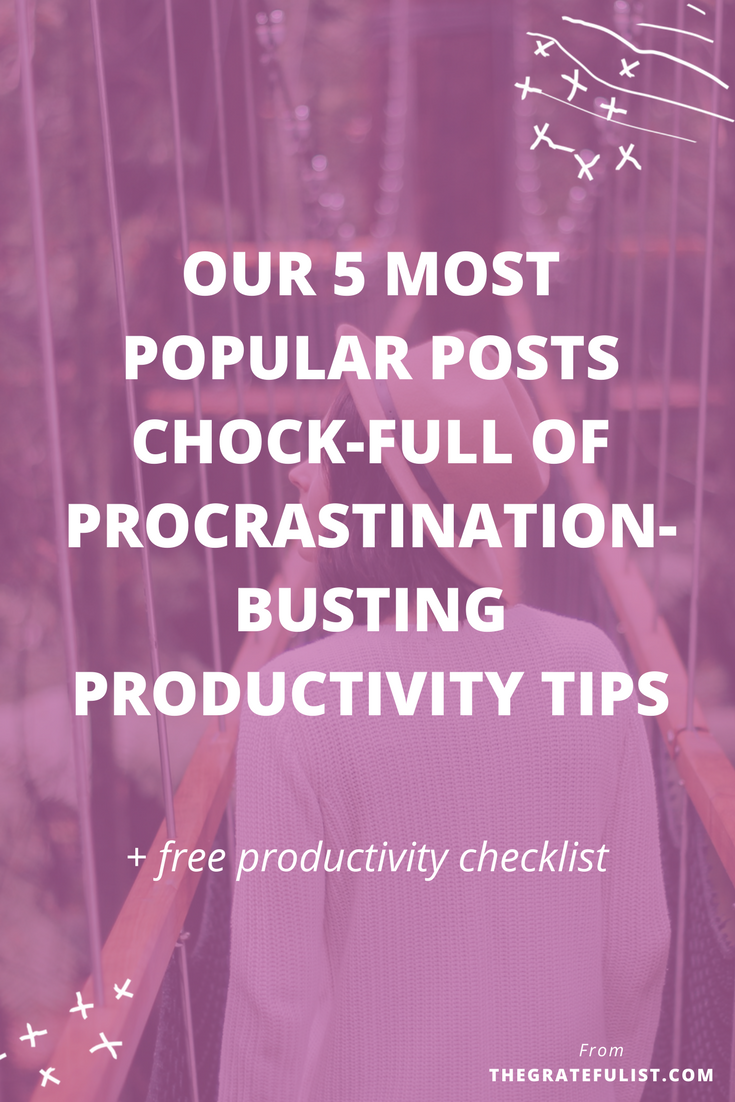 Take a look at our 5 most popular blog posts chock-full of procrastination-busting productivity tips. procrastination tips / overcoming procrastination / procrastination worksheet / motivation / beat procrastination / stop procrastination / perfectionist / productivity tips / productivity tools / time management / stay focused