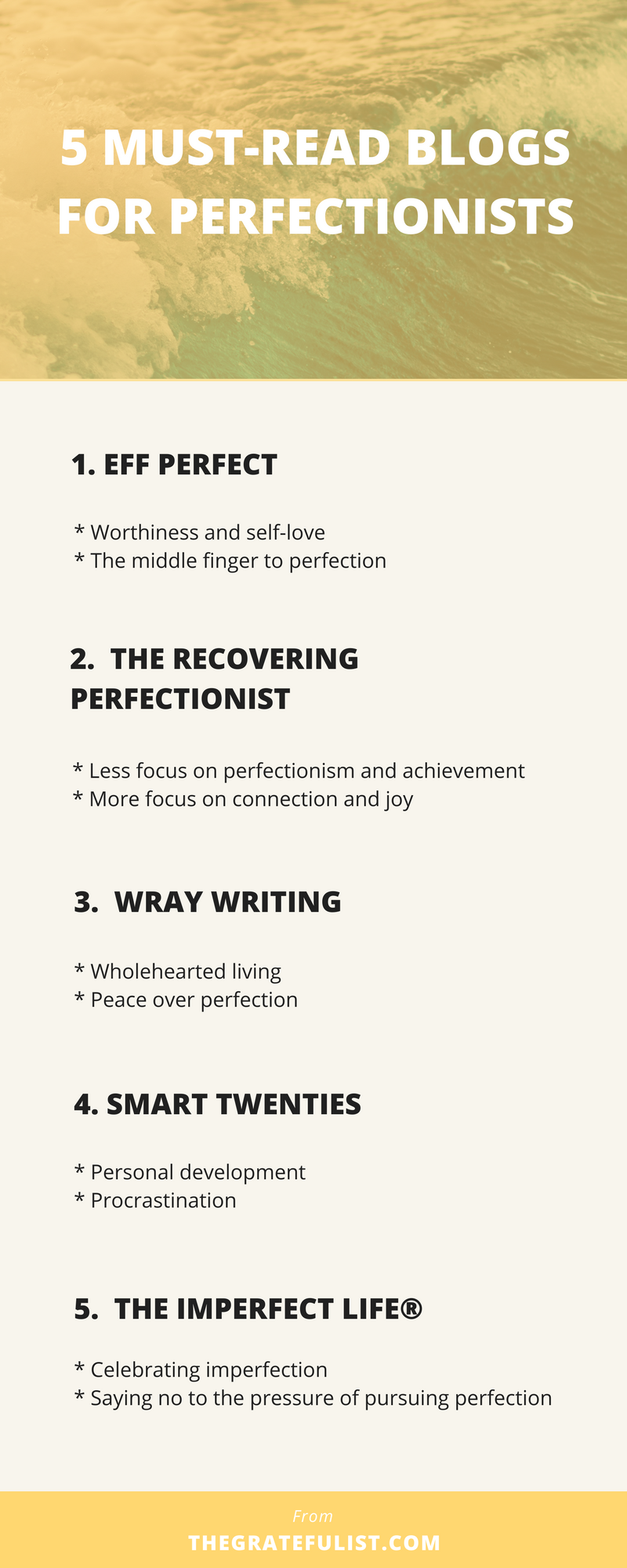 Overcoming your perfectionism is not easy. At all. It's no wonder that many of us recovering perfectionists feel like letting go of perfectionism is a lonely experience. But there are people who DO get it.These 5 blogs are absolute must-reads for every recovering perfectionist out there. Overcoming perfectionism / perfectionism quotes / perfectionism inspiration / progress not perfection /perfectionism definition / let go of perfectionism / stop being a perfectionist