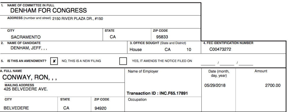 Campaign finance filings detailing Rob Conway's $2,700 contribution to Rep. Jeff Denham.