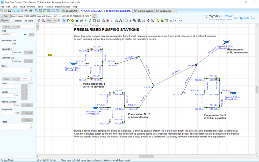 """Screen shot of the complete water supply system. Two pipes (dotted next to reservoirs B & C) have been """"opened"""" to model the effect that a maintenance shutdown will have on system performance."""