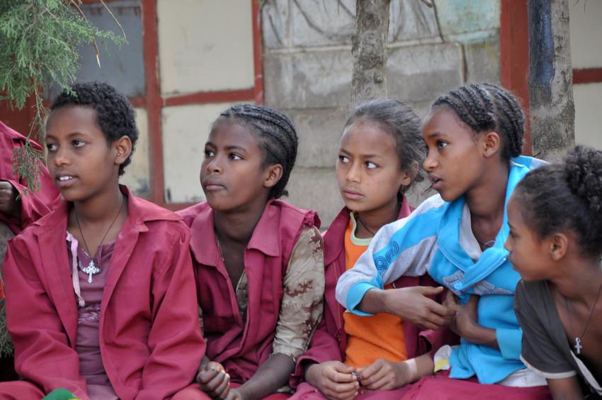 Children in Ethiopia discuss child marriage {CREDIT: Keira Dempsey / Plan International}