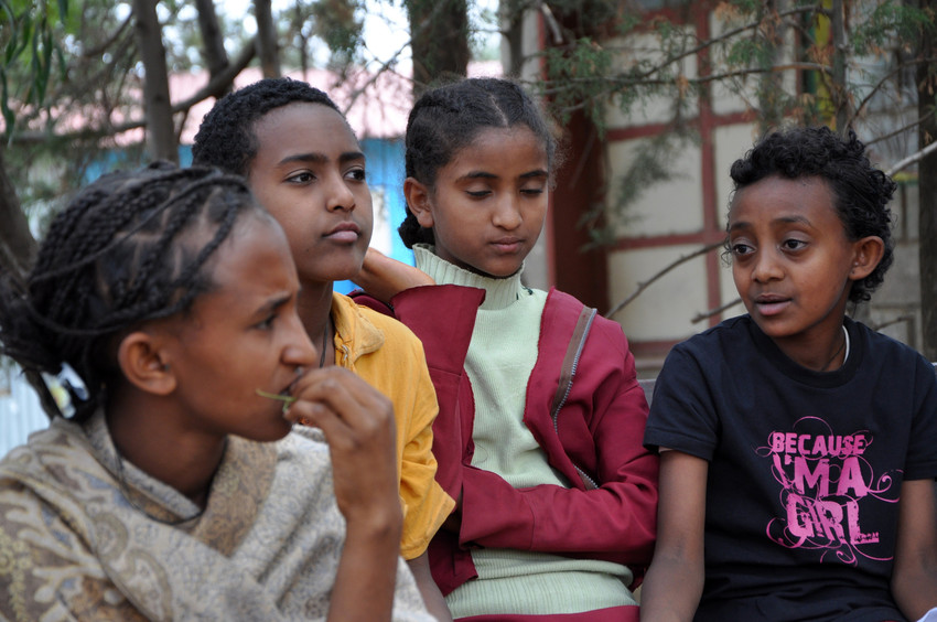 Ethiopian girls discuss child marriage (CREDIT: plan)