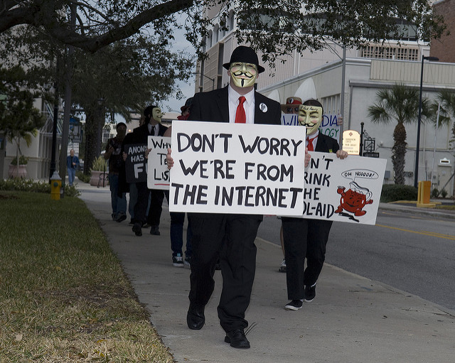 Internet activist group 'Anonymous' hold peaceful protest [CREDIT: Anonymous9000]