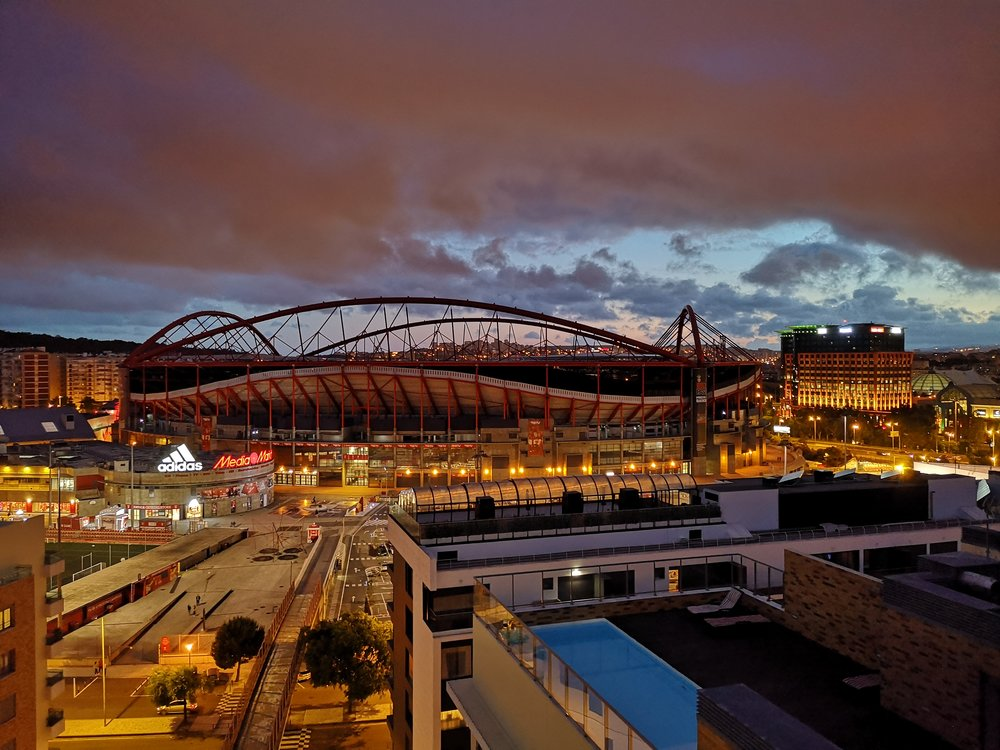 The stunning Estádio Da Luz, photographed by Dan from his hotel at the end of Day 1.