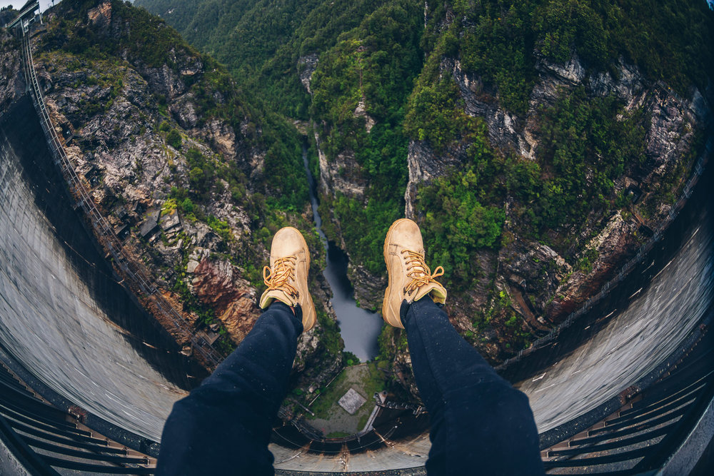 I couldn't resist taking one of my classic leg shots, looking down into the river below me.