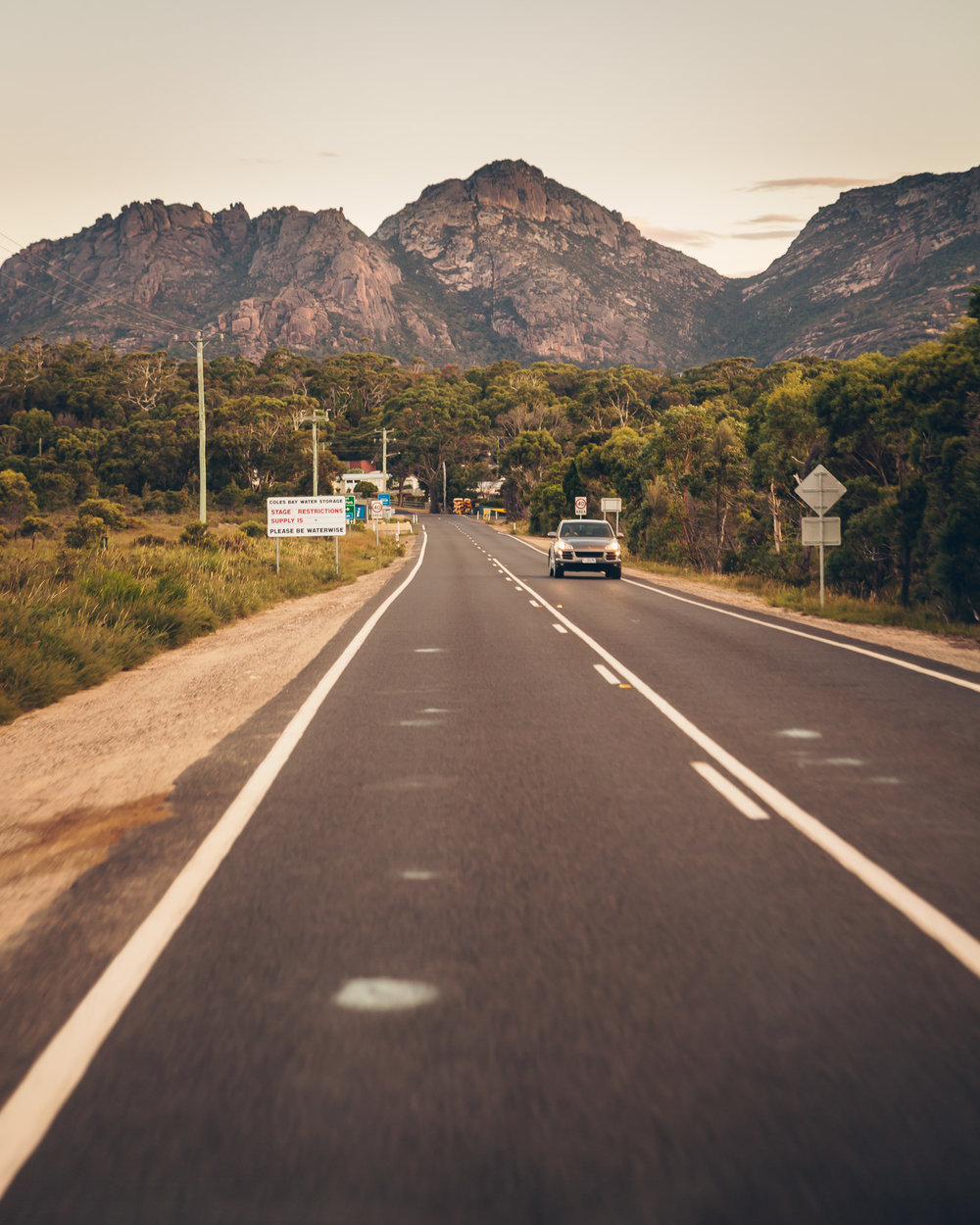 The road leading into Freycinet National Park, at sunset