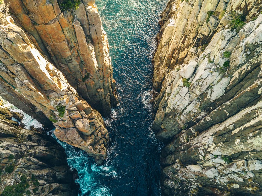 Taken from my drone, looking down over the cliffs at the end of the walking track