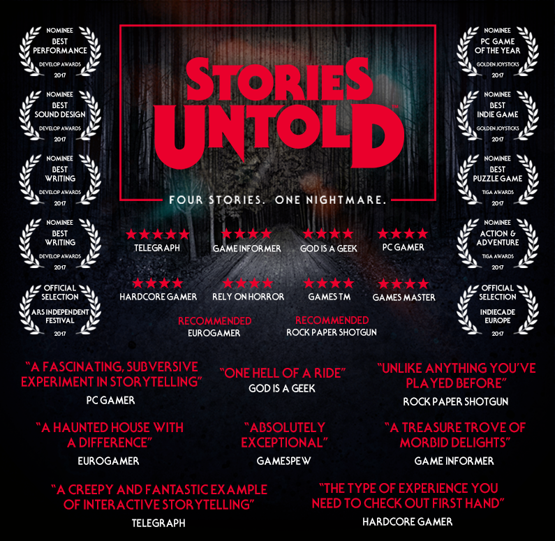 "Stories Untold (2017) (PC) - Four Stories. One Nightmare.From the prototype 'The House Abandon' comes the critically acclaimed 'Stories Untold', the latest madness from No Code. Four short stories, tied together in a complex web of psychological-horror, intense visuals and genre-bending adventures.""This is smartly written, intriguingly delivered, and wonderfully unique.""Rock Paper Shotgun""a fascinating, subversive experiment in storytelling that delights in messing with your head""PC Gamer""an adventure game quite unlike any other""Kotaku"