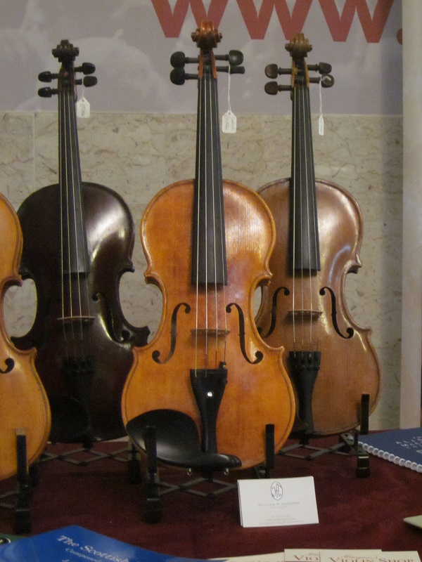 One of my violins being displayed at Glasgow Royal Concert Hall, during the 2016 Celtic Connections festival.  Courtesy of Glasgow's Violin Shop.