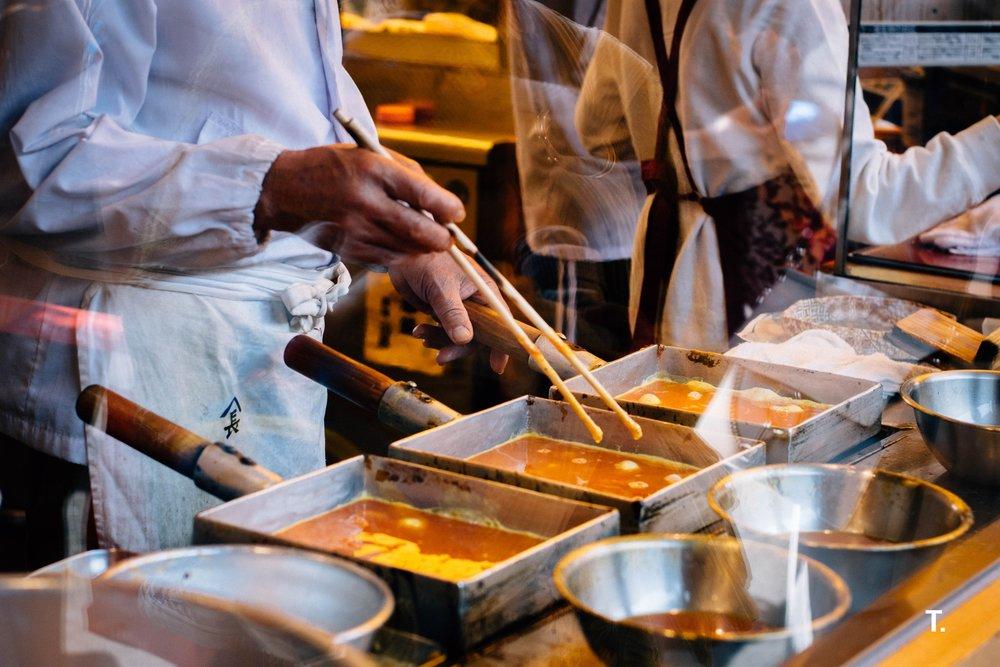 A tamago making man at the Tsukiji Markets.