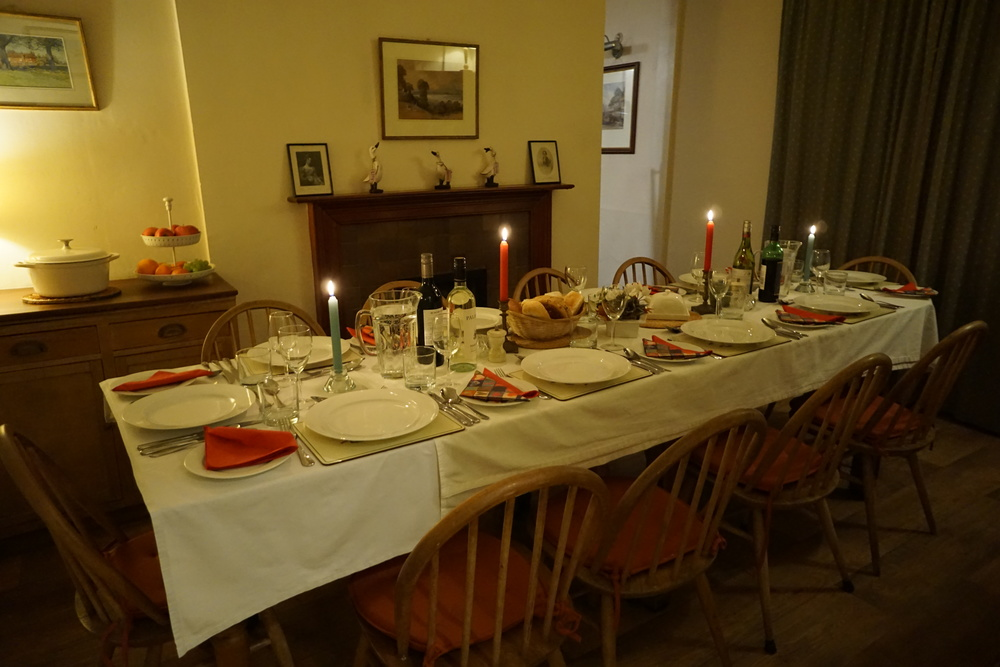 Dining room laid up for 10 adults