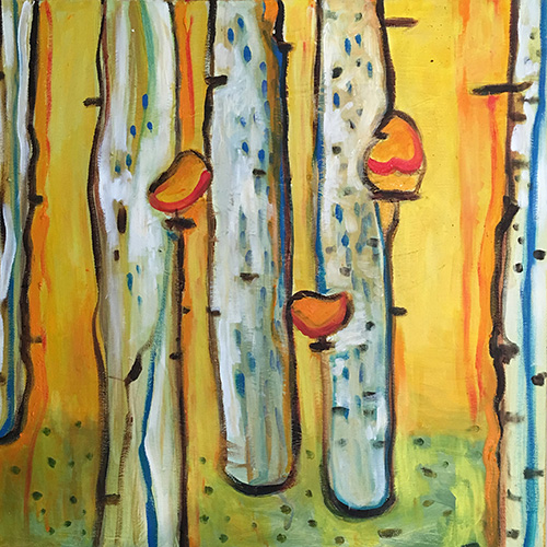 13. Birches with Birds , 2016 (50 x 50 cm)