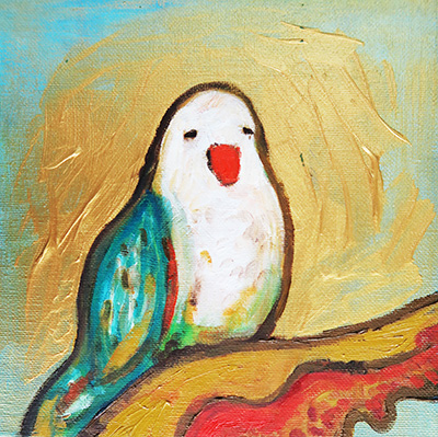 -   SOLD - 21. The Solemn Parakeet , 2016 (18 x 18 x 2cm)