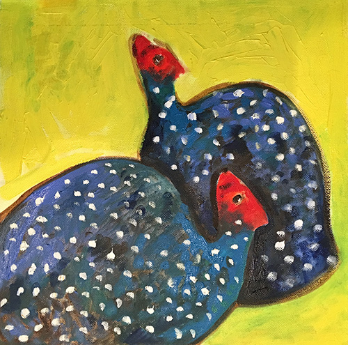 -   SOLD - 26. Patryse (Guinea Fowl)  2016 (30 x 30 x 3.8cm)