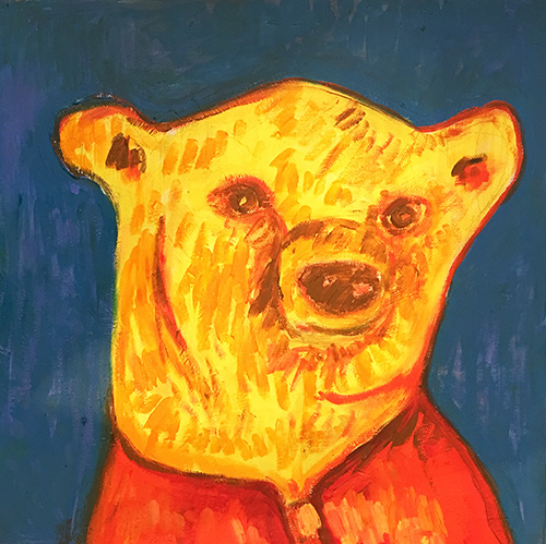 -   SOLD - 27. Blue Bear , 2016 (30 x 30 x 3.8cm)