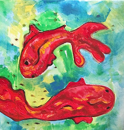 -  SOLD -31. Goldfish , 2016 (30 x 30 x 3.8cm)