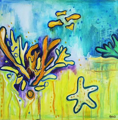 32. Starfish Underwater ,2016 (40 x 40 x 3.8cm)