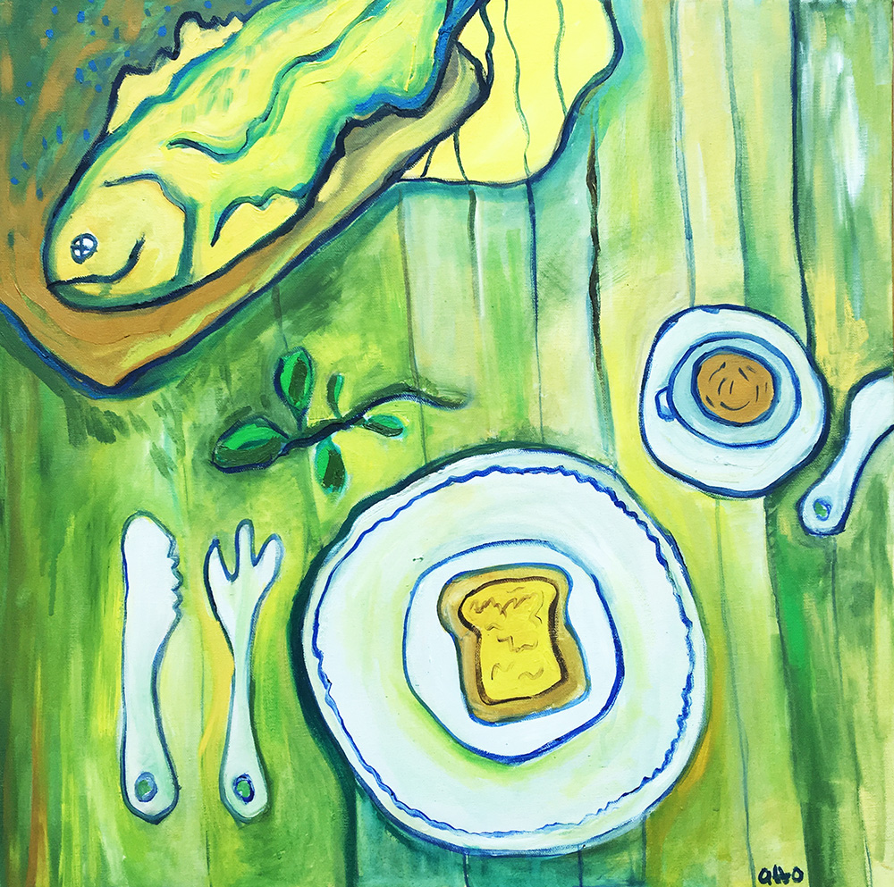 53. Fish for Tea , 2016 (50 x 50 x 3.8cm)