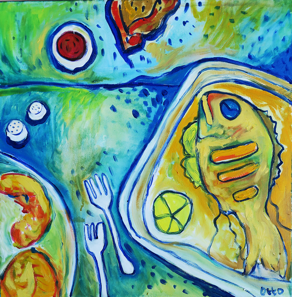 54. Fried Fish Fridays , 2016 (50 x 50 x 3.8cm)