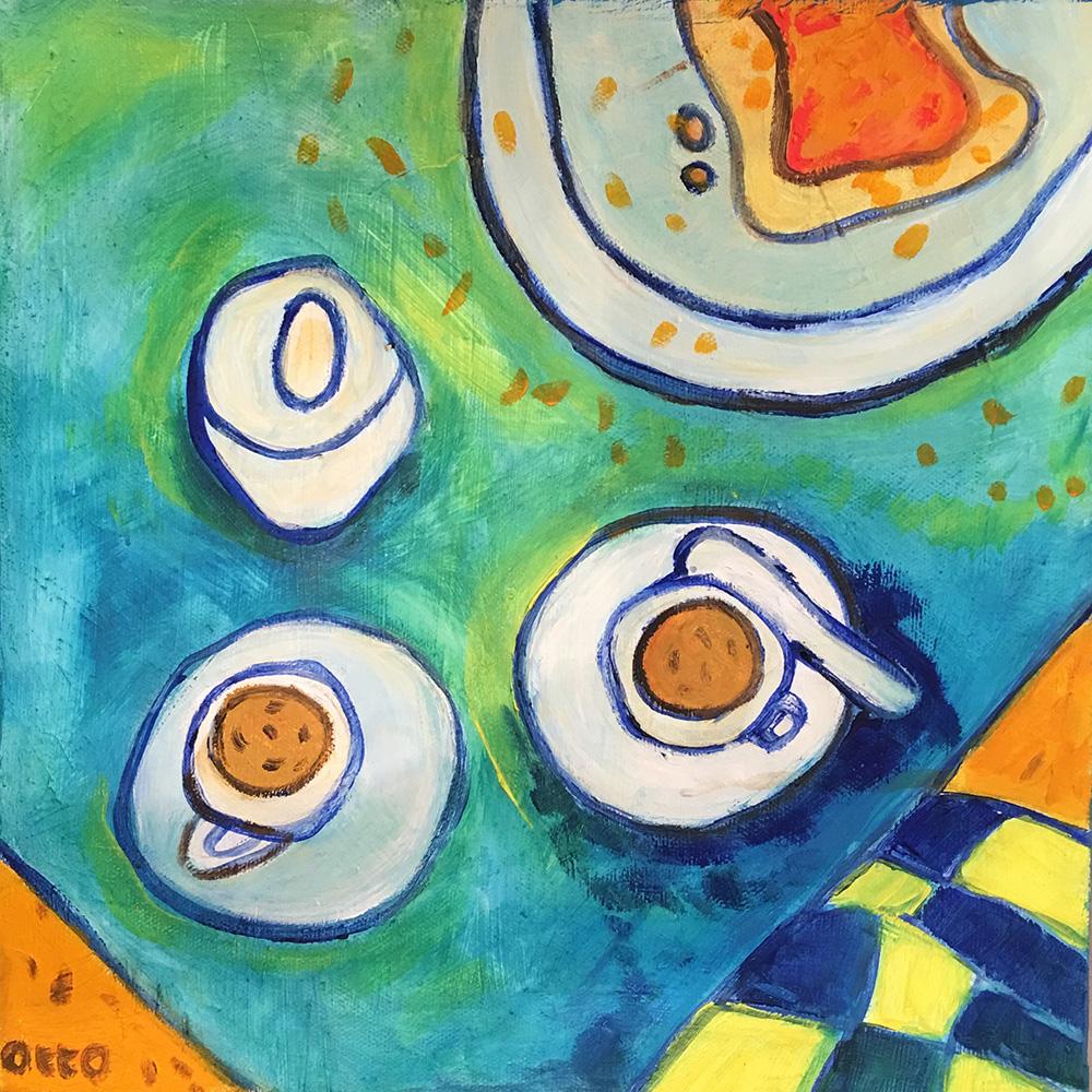 57. Coffee & Toast ,2016 (30 x 30 x 3.8cm)