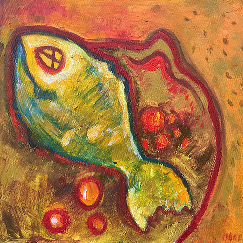 -   SOLD - 58. Red Snapper , 2016 (30 x 30 x 3.8cm)