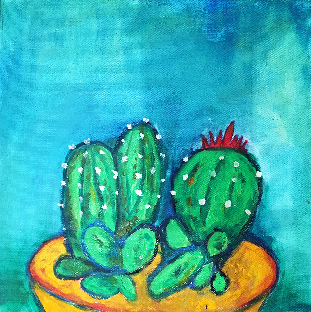 -   SOLD - 61. Cactus Pot , 2016 (30 x 30 x 3.8cm)
