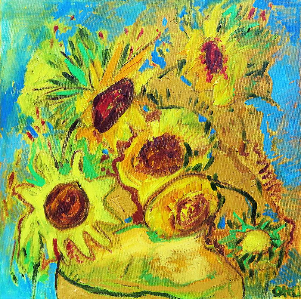 66. Sunflowers ,2016 (40 x 40 x 2cm)