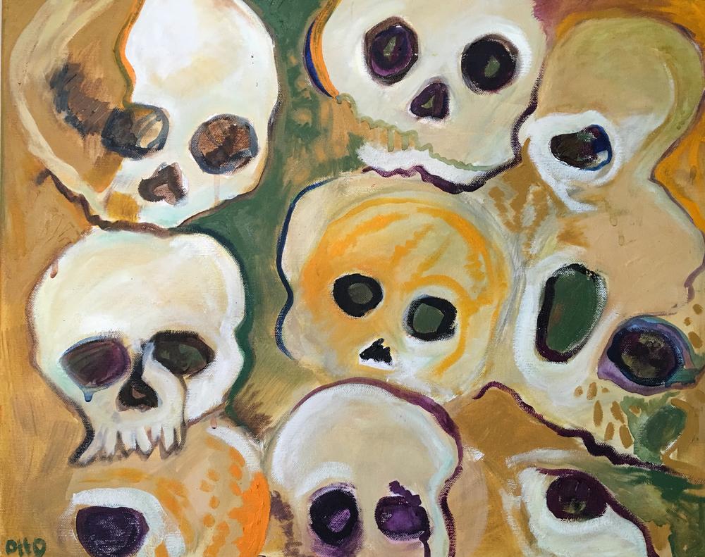 71. Skull Party ,2016 (51 x 40 x 3.8cm)