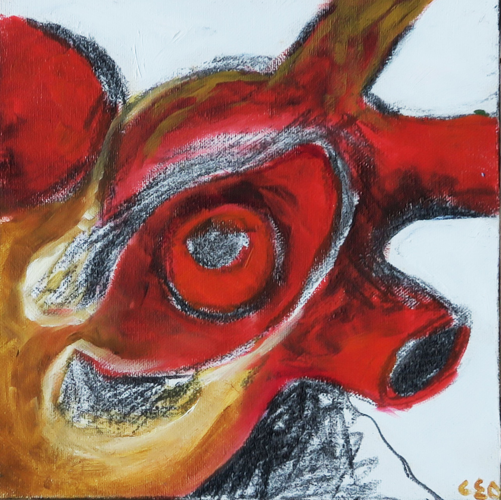 73. Heart You , 2007, Oil on Canvas with Charcoal (20 x 20 x 2cm)