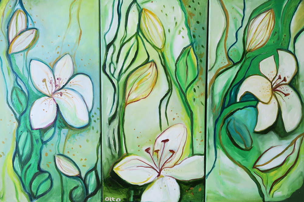 -   SOLD - 67. Heloise's Lilies , 2015 (30 x 60 x 3.8cm - x 3)