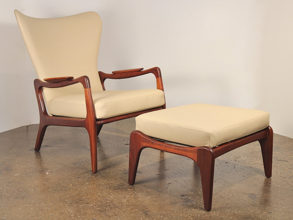 Adrian Pearsall Lounge Chair with Footstool