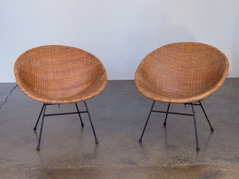 Pair of Mid-Century Rattan Chairs