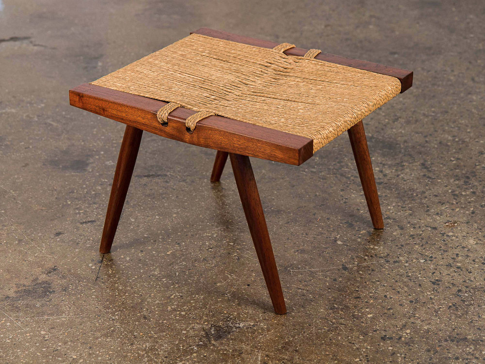 George Nakashima Grass Seat Walnut Stool