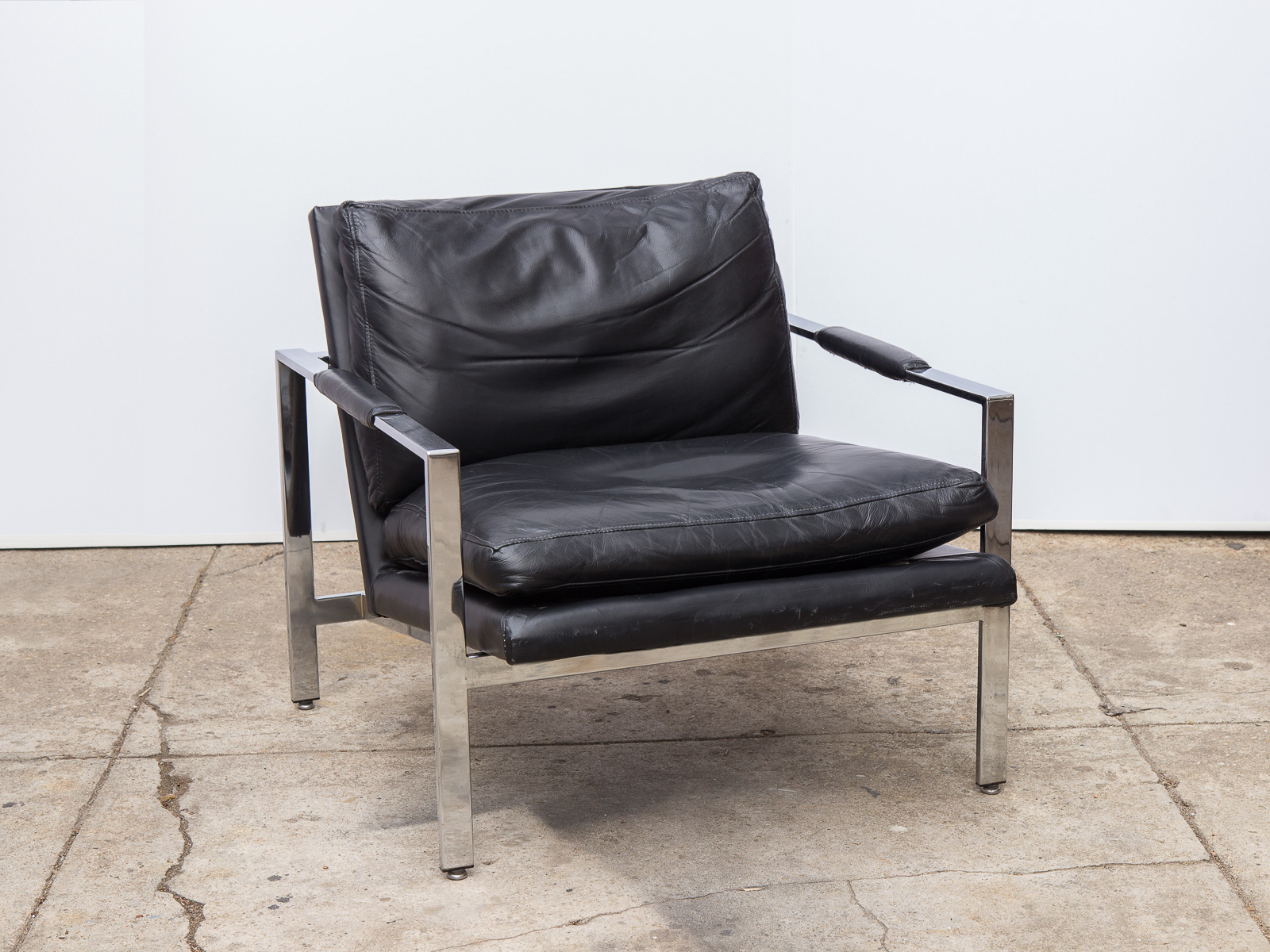 Milo Baughman Chrome Leather Chair — OAM