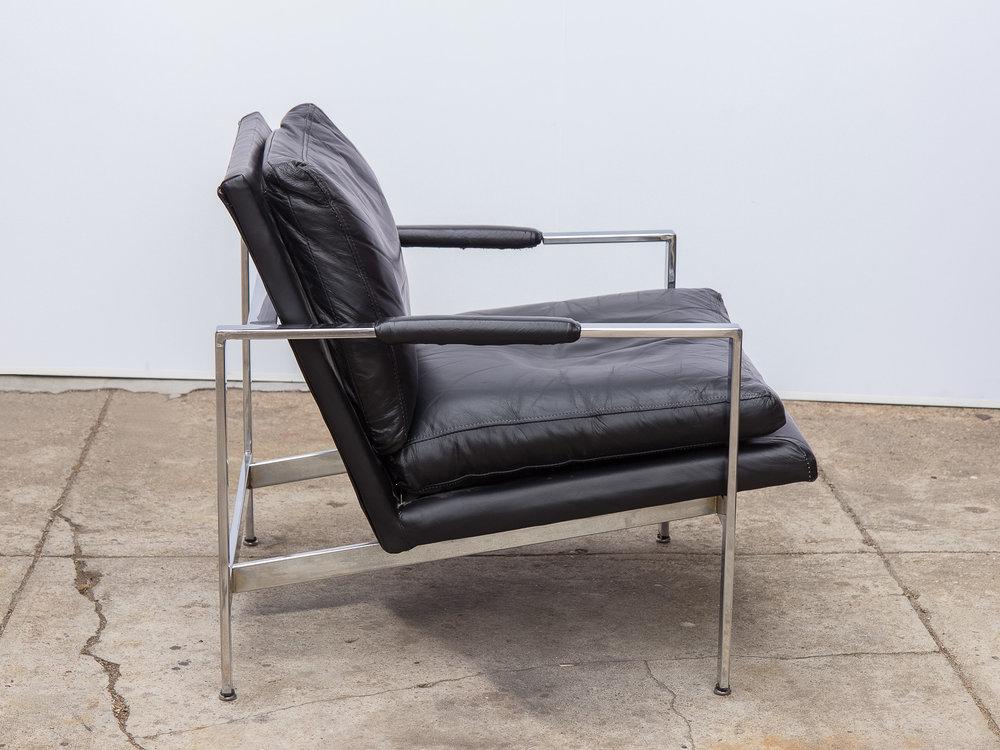 Milo Baughman Chair Dwr Open Air Modern For Black Leather Chrome Lounge  Club Replica Recliner Thayer