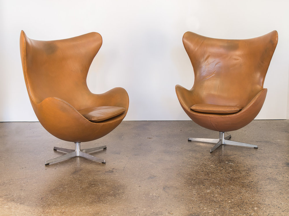 Pair of Cognac Egg Chairs by Arne Jacobsen
