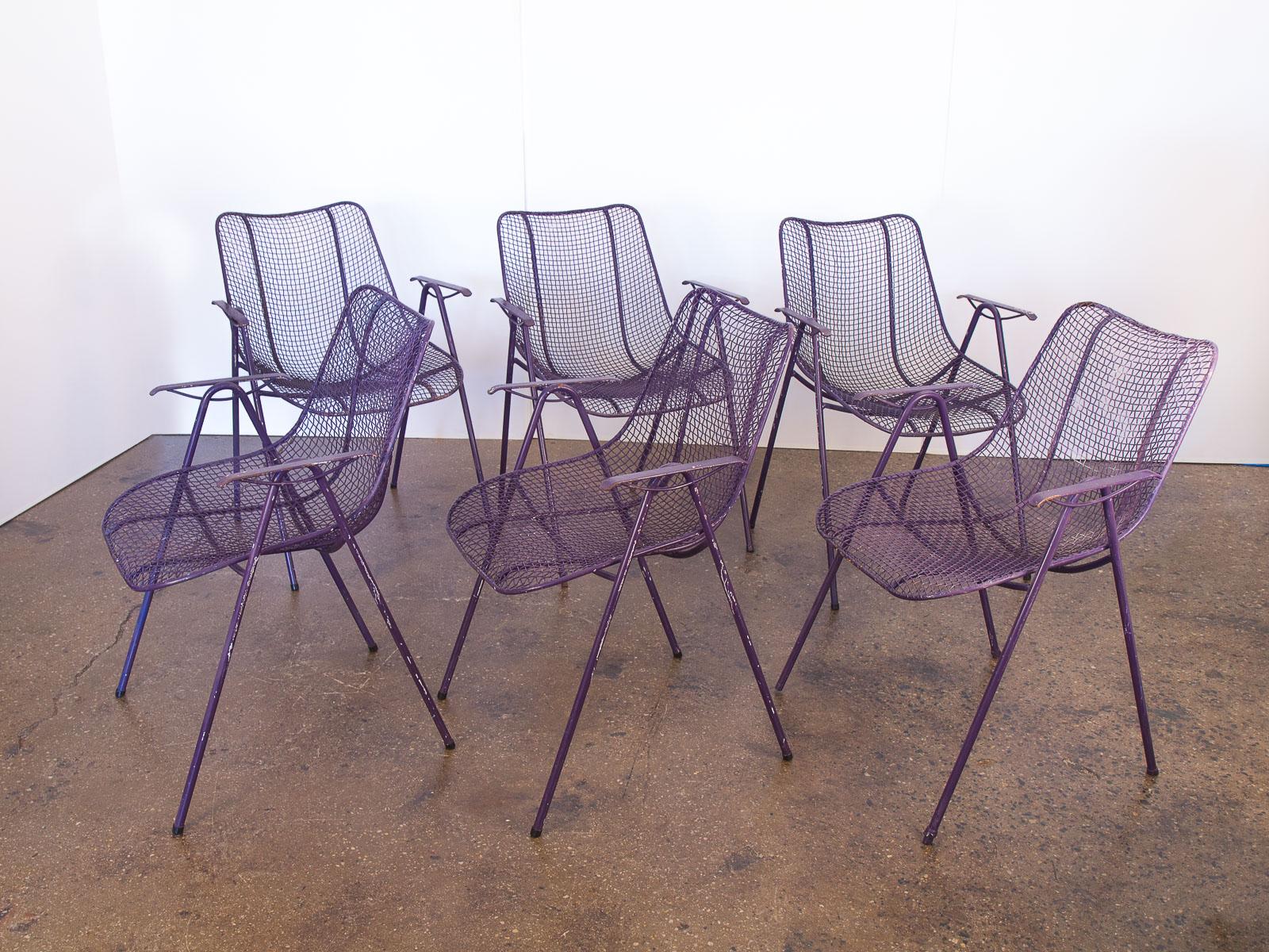 Set of 6 Purple Woodard Garden Armchairs — OAM