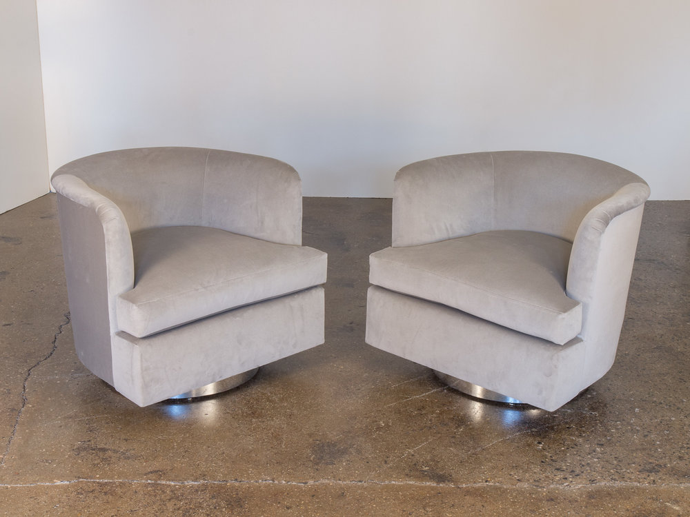 Milo Baughman Velvet Swivel Chairs