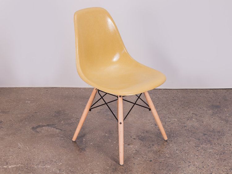straw mustard eames shell chairs on maple dowel base oam