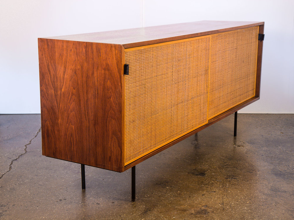 Florence Knoll Walnut and Woven Door Credenza