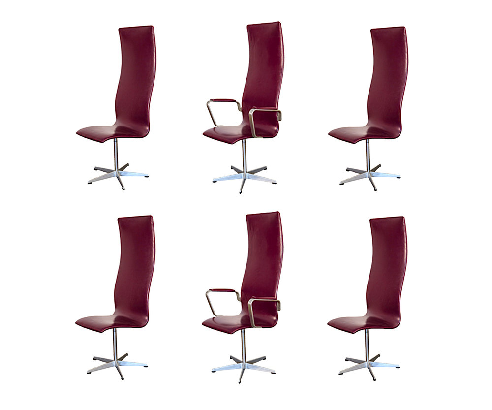 6 Arne Jacobsen Oxford Chairs