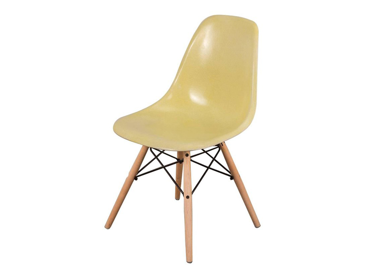 Canary Yellow Eames Shell Chair On Maple Dowel Base