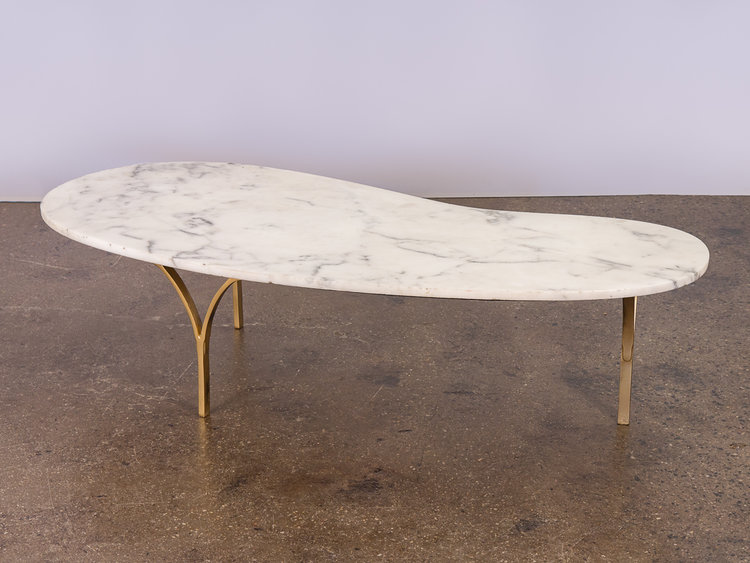 Biomorphic Marble Coffee Table OAM - Marble coffee table with brass legs